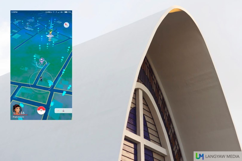 The modernist architecture of Sacred Heart Parish Church. Inset: Screencap of vicinity as seen from Velez Hospital
