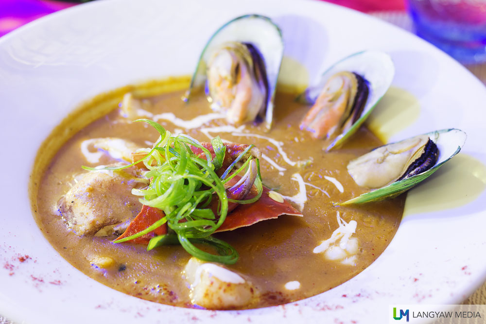 Seafood gumbo soup with crabs, squid, fish and mussels at Ocean Restaurant