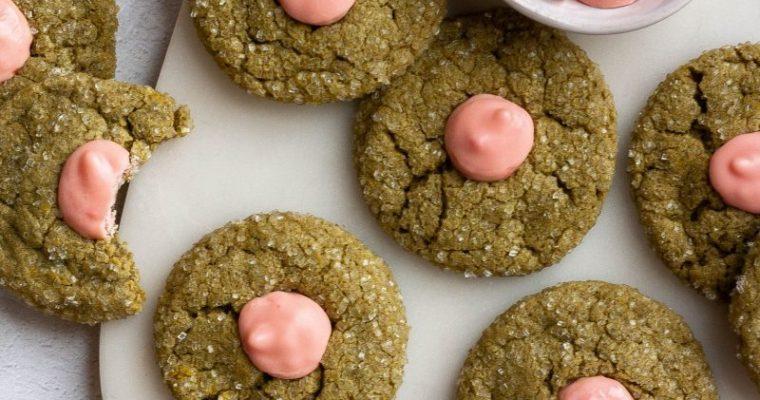 Matcha Strawberry Thumbprint Cookies