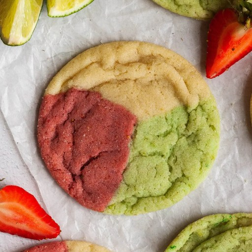 strawberry lime cookie closeup