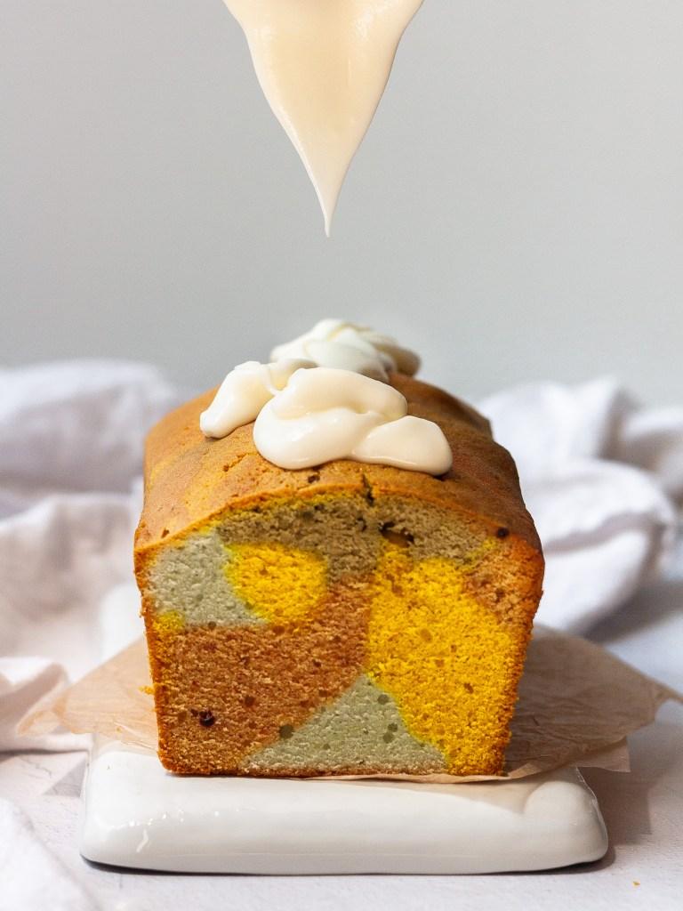 rainbow pound cake, mid-glaze