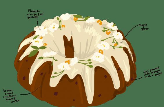 sketch of the maple fig bundt cake