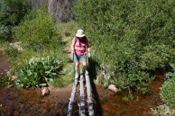 Romola's least favorite hiking activity... a log crossing.