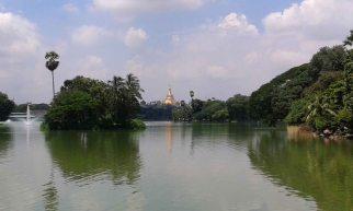Shwedigone across Kandawgyi Lake
