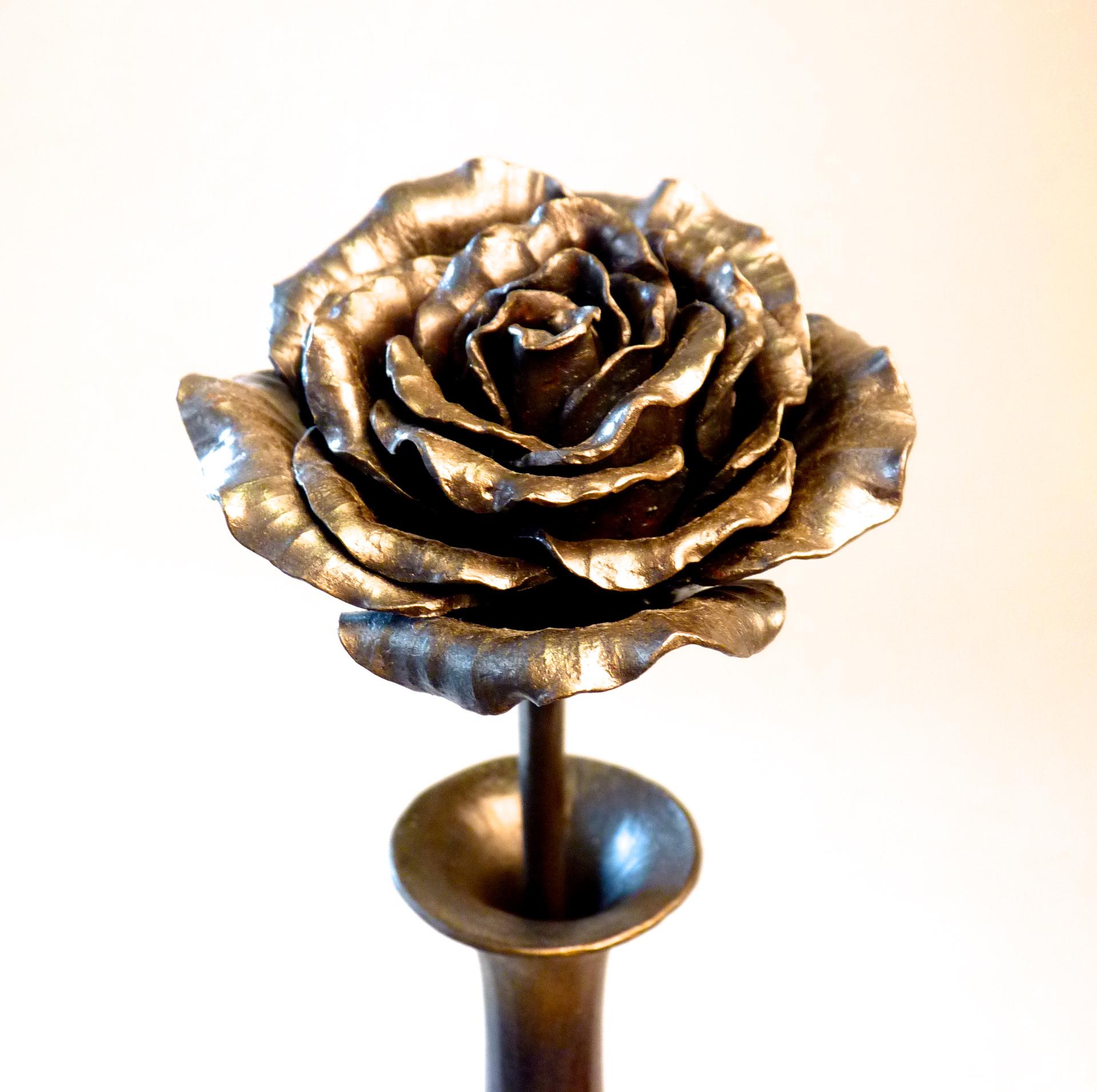bud vase with rose forged iron lankton metal design