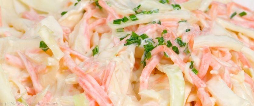 salada de repolho com maionese 1024x427 - Salada coleslaw: salada de repolho com maionese