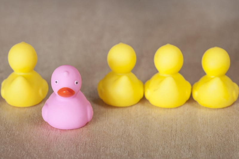 Patitos de juguete en línea, un patito es destacado y de color rosado.