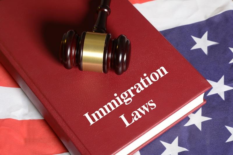 Un libro de leyes de inmigración encima de un bandera americana.