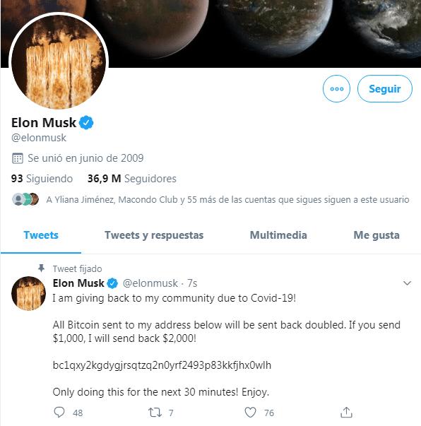 Hackean cuentas de Twitter de Bill Gates y Elon Musk