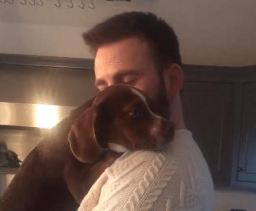 Chris Evans con un cachorro
