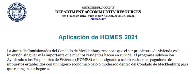 Solicitud del programa HOMES. / Mecklenburg County Department of Community Resources