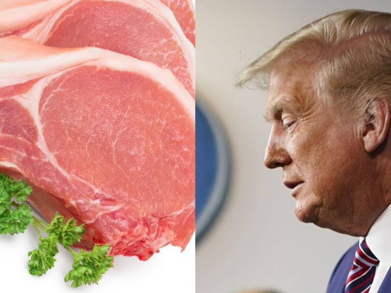 Trump chuleta trozo de cerdo con cara de Trump gana premio