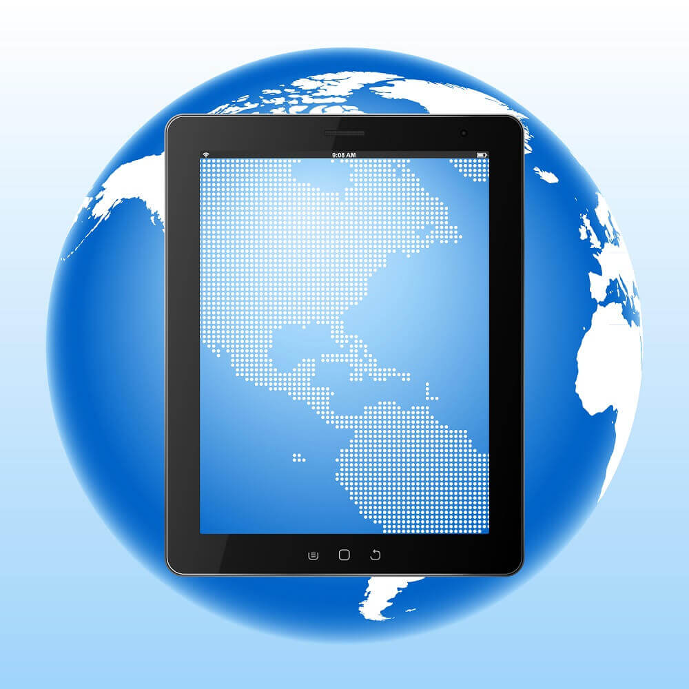 Metaphor of planet digitizing. Tablet PC Computer with Digital Screen over Earth.