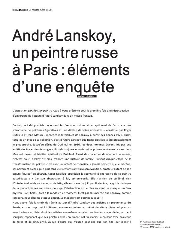 André Lanskoy, un peintre russe à Paris : éléments d'une enquête