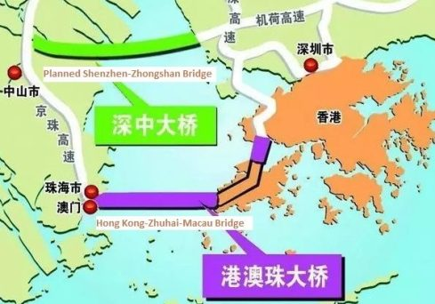 Another bridge on the way govt unsure of impact on hk macau link the shenzhen zhongshan bridge green will be just 32km north of the hzm bridge purple gumiabroncs Image collections
