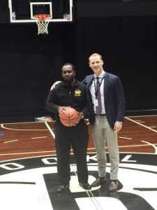 Shamel and D'Marco pose together at the Barclays Center during their first mentorship session
