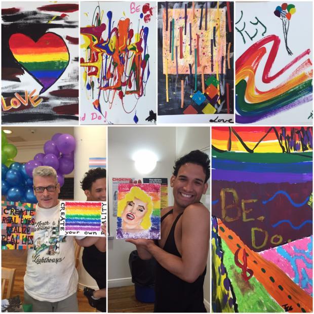 Lantern Community Services' Audubon residents display their Pride Week artworks