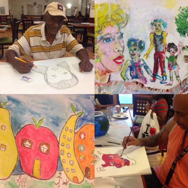 Artists from Clover Hall in Brooklyn prepare works for the all-Lantern art show