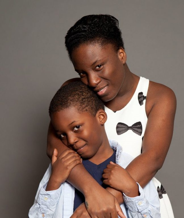 Lantern client and CUNY theater student, Delta Thompson, with her son