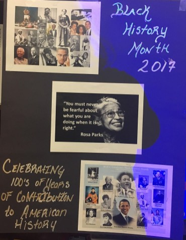 A Black History Month poster at Rustin House