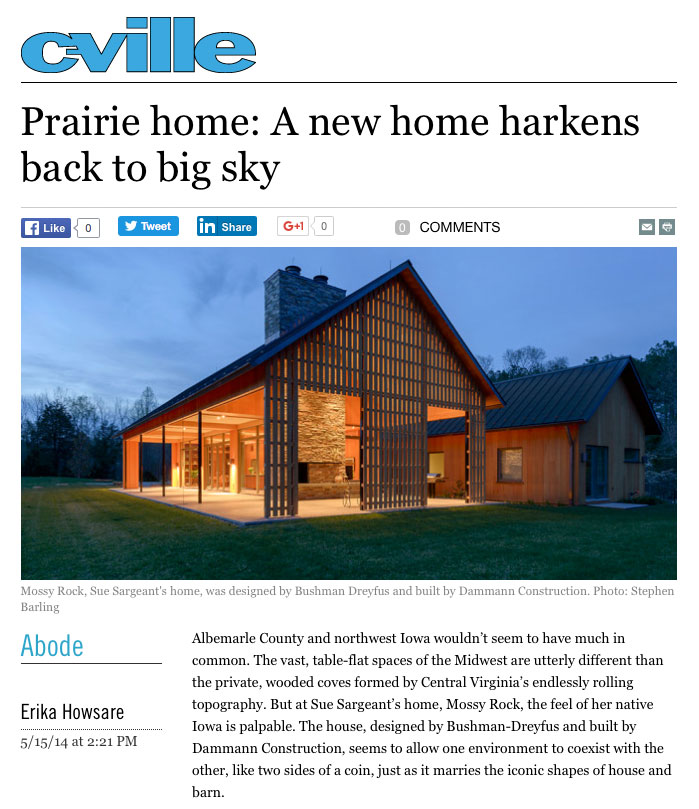 C-ville article features Prairie Home with work by Lantz custom Woodworking