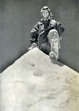 Jean Couzy on Makalu summit. Pht.Lionel Terray. May 15, 1955.