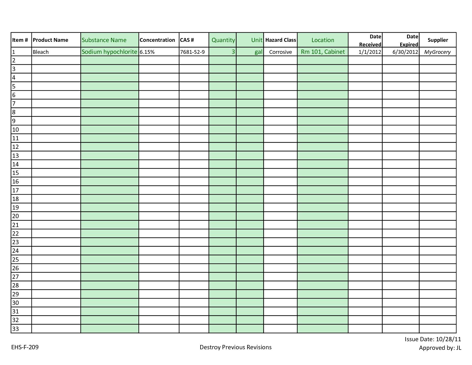 Warehouse Inventory Management Spreadsheet
