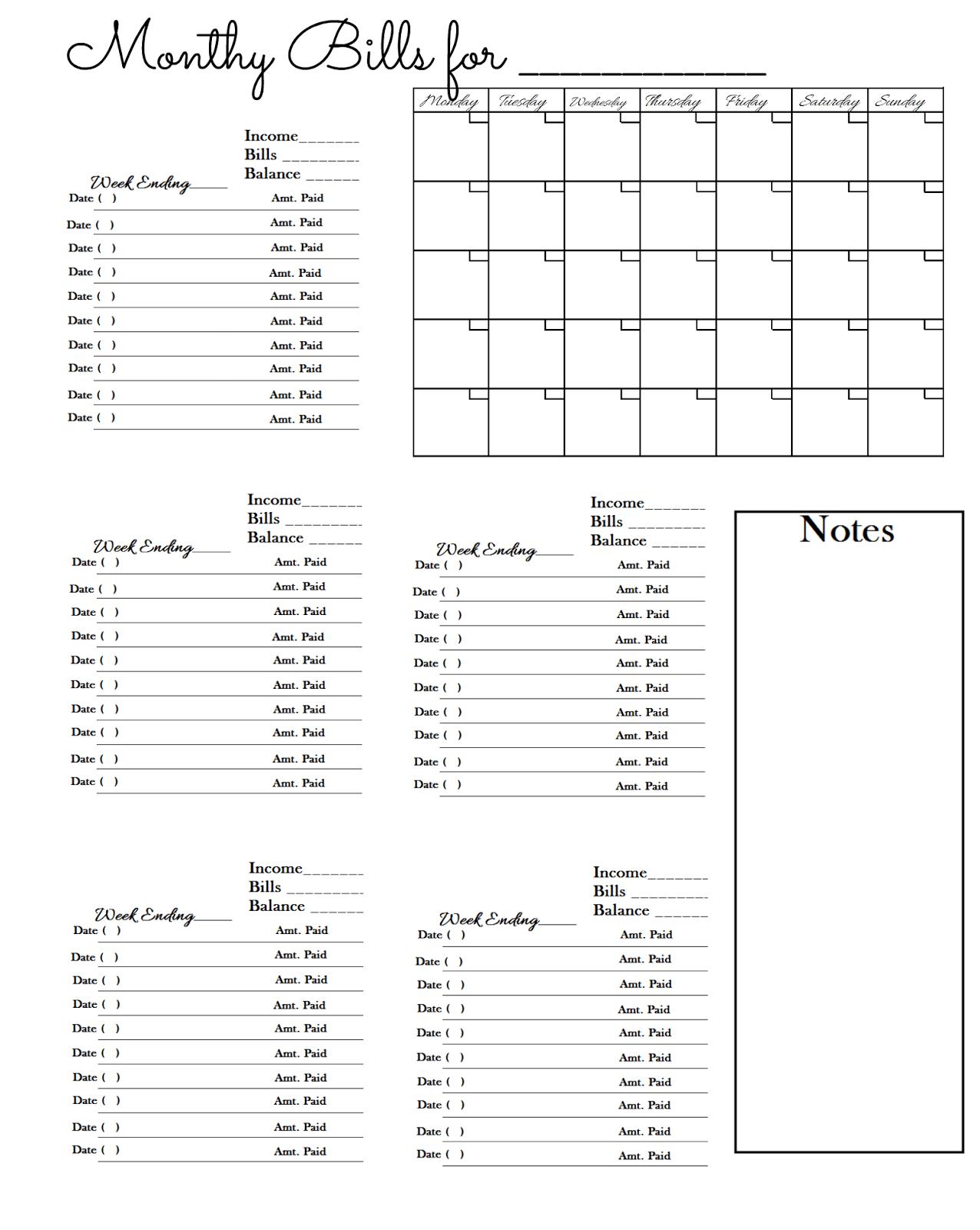 Keeping Track Of Bills Spreadsheet