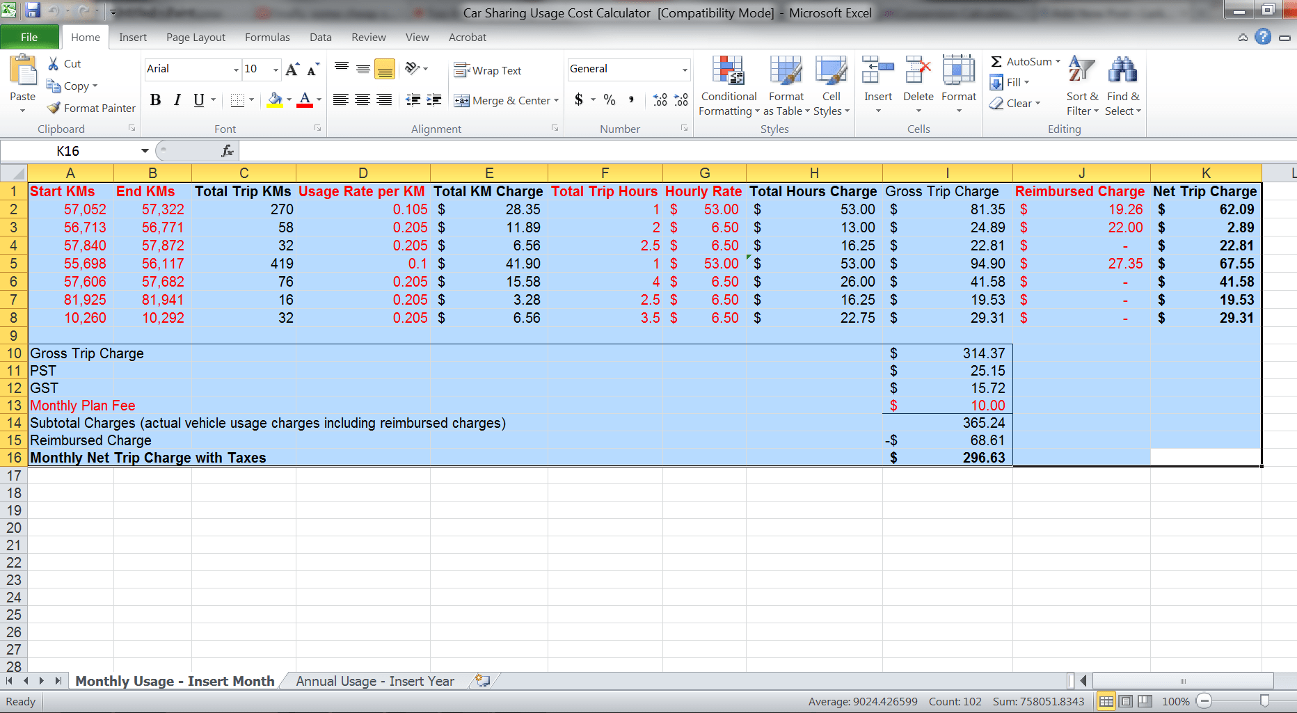 Money Owed Excel Template