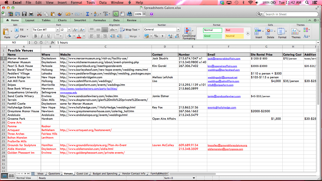 Project Task Tracking Spreadsheet