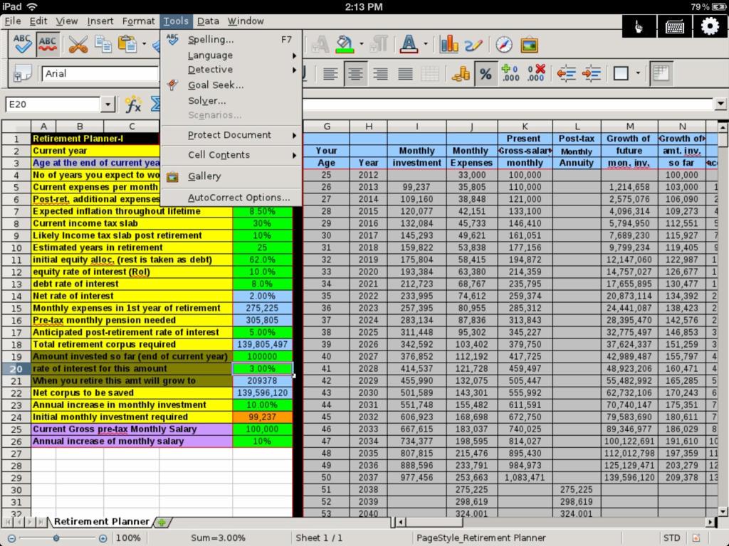 Retirement Excel Spreadsheet Download