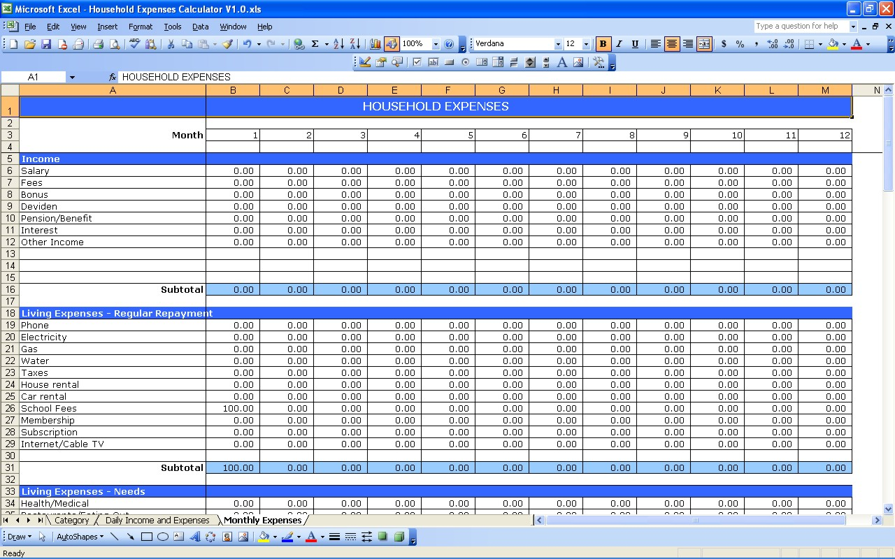 Small Business Expense And Income Spreadsheet Download