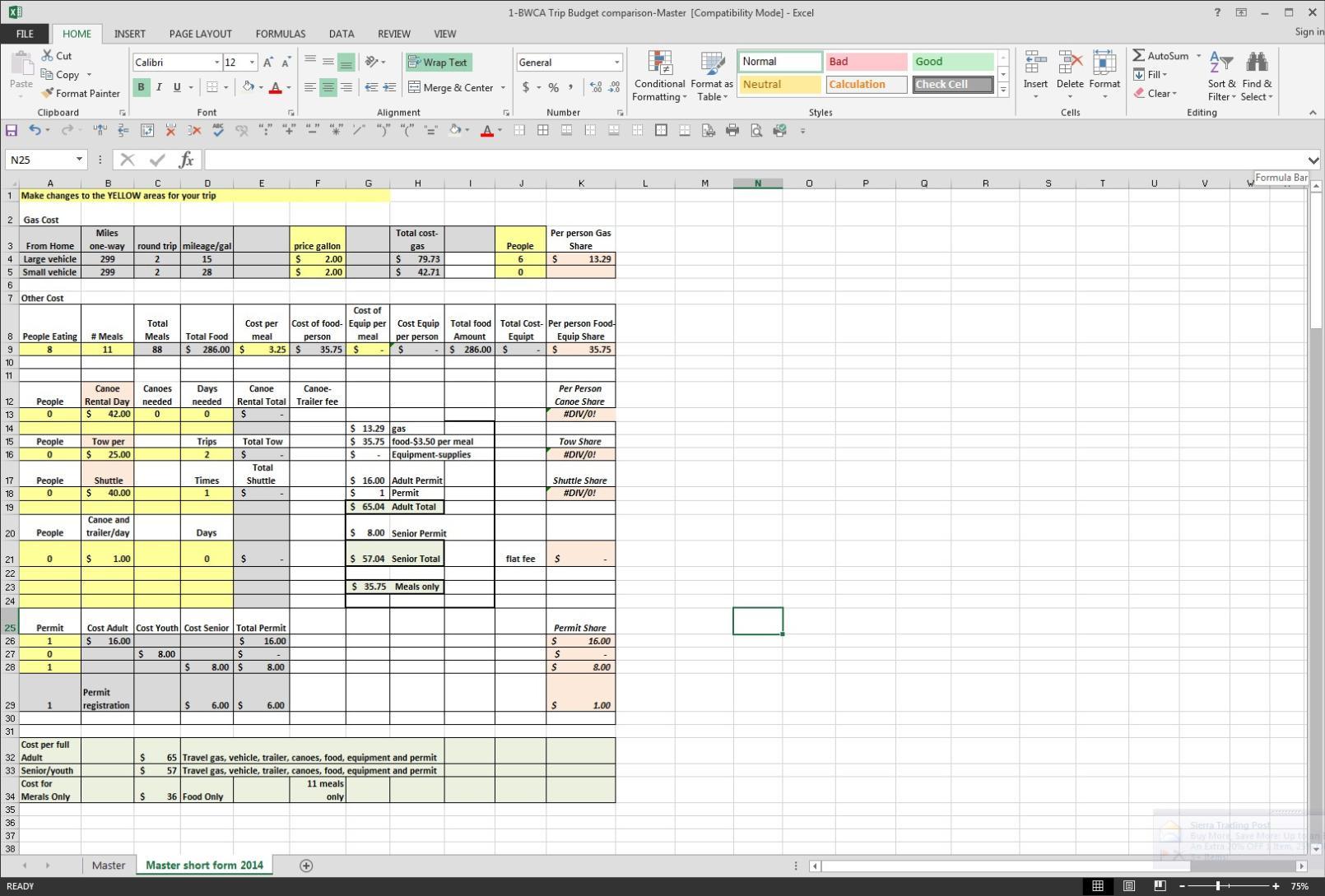 Trucking Spreadsheet