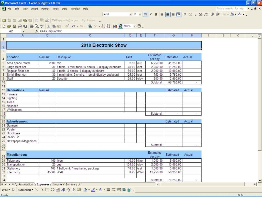 Indian Wedding Expenses Spreadsheet