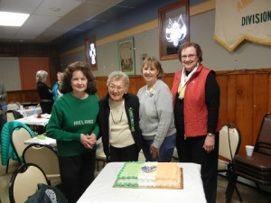 Pictured above L-R:  Dorothy Flaherty Weldon, Past National President; Marge Visokey, Division 4; Colleen Bowers, National Fundraiser/Past State President; and Shirley Murphy, Pennsylvania State Irish Historian; awarded Marge the National Lifetime Membership for 70 years of LAOH service at the Allegheny County LAOH General County Meeting Saturday, November 14.   Allegheny County Board members present were Kathleen Diulus, President; Eileen O'Malley, Vice President; Secretary & Immediate Past President, Sharon McGrath; Treasurer, Sue Donnelly; Catholic Action, Kathleen Toomey; Freedom for All Ireland,  Shirley Sestric; Immigration and Legislation, Suzanne Heller ; and Publicity/Webmaster Lori Butler.  Cake, refreshments and lively conversation followed afterwards.