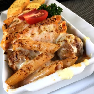 Meatballs Penne Gratin at Laong's Bistro