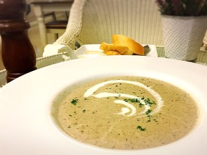 Cream of the forest mushroom soup at Laong's Bistro