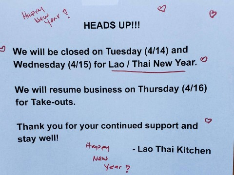 Closure for Lao-Thai New Year: 4/14 – 4/16