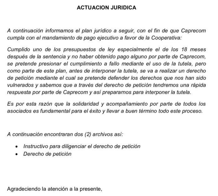 ACTUACION JURIDICA A SEGUIR CONTRA CAPRECOM