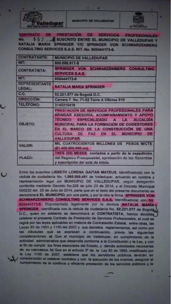 Contrato de Natalia Springer