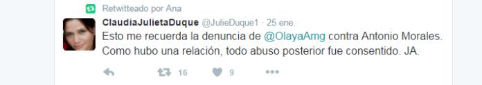 Twitter de Claudia Julieta Duque