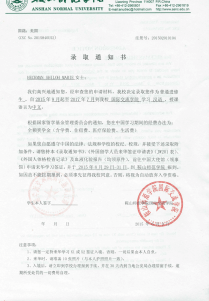 Chinese Acceptance Letter