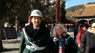 Me and a guard at the base of the Summer Palace