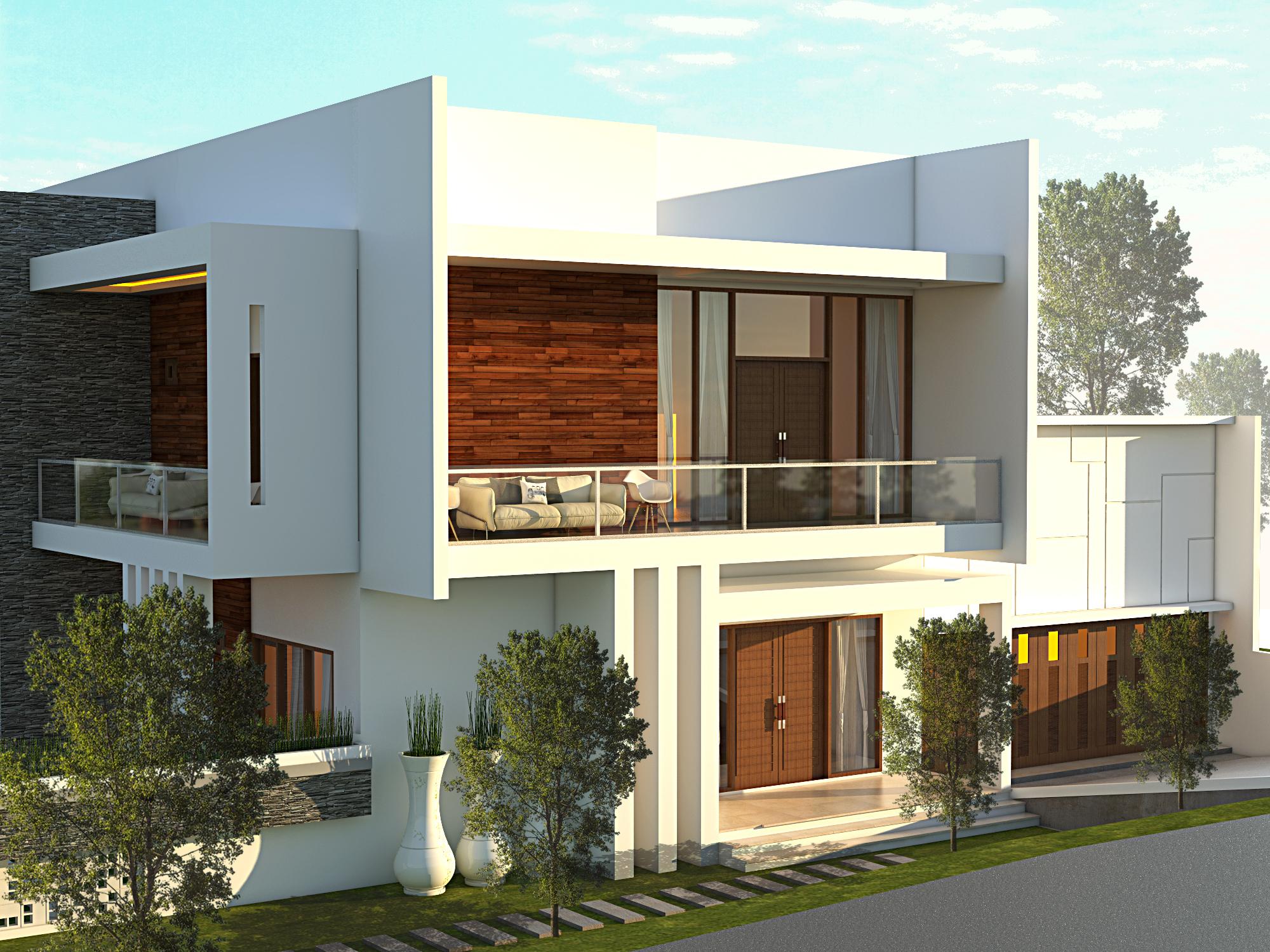 Desain Arsitektur Rumah Hook Minimalis Mediteran Bapak Darno Di