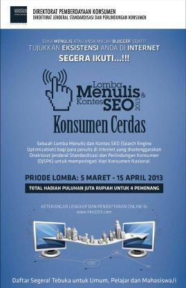 Poster Kontes SEO 2013 Dan Lomba Menulis – Konsumen Cerdas