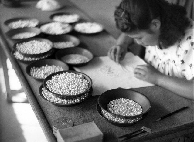 Seorang gadis Jepang secara hati-hati menyortir butiran mutiara yang dikembangkan di lahan budidaya mutiara Kokichi Mikimoto, di dekat ujung Semenanjung Ise, Jepang, 12 Oktober 1949. Mutiara ini disortir berdasarkan warna, ukuran, serta bentuknya. (Photo by AP Photo via The Atlantic)