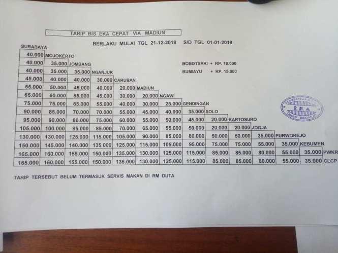 Informasi Tarif Harga Tiket Bus Eka Terbaru Tahun.