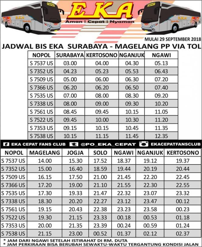 Info Jadwal Bus Eka Cepat - Bus Mira