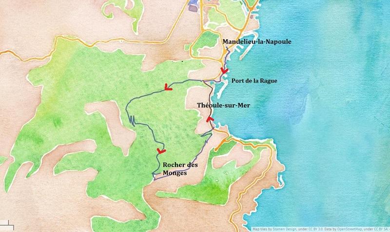 Itinéraire de la randonnée au Rocher des Monges