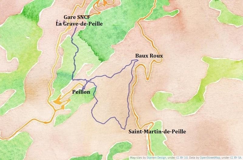 Itinéraire de la randonnée à Peillon Circuit de Lourquière